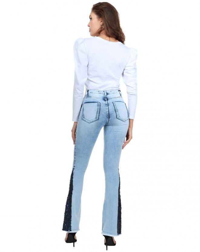Calça Jeans Escuro Paetê na barra