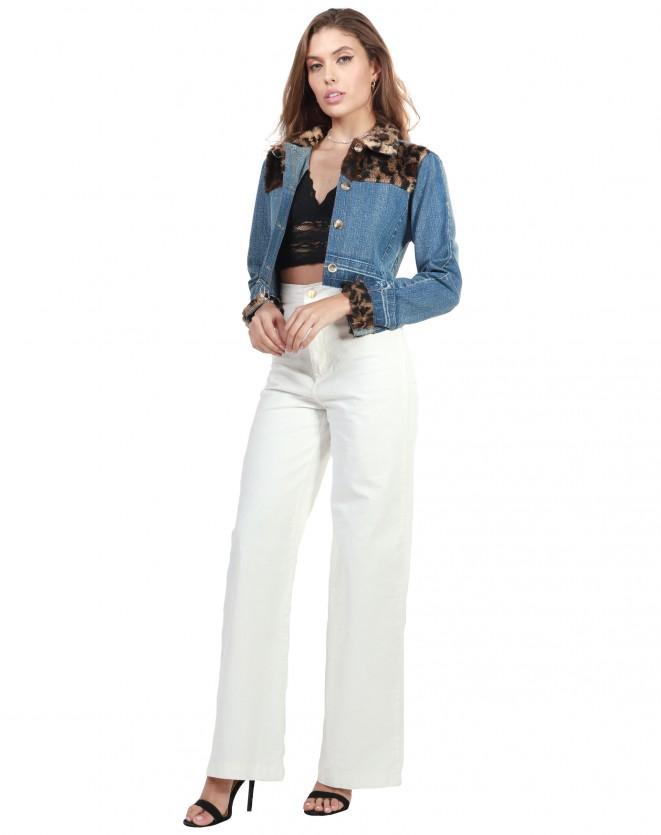 Jaqueta Jeans Com Detalhe Animal Print
