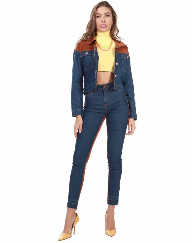 Calça Skinny Jeans com Veludo