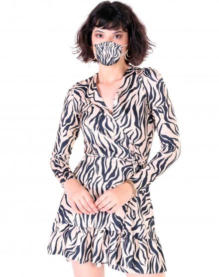 Vestido Wrap + Máscara Estampada