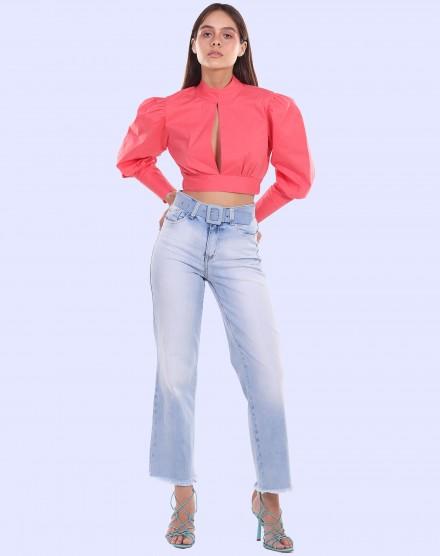 Calça jeans reta barra desfiada