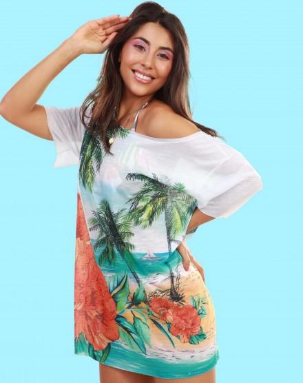T-shirt dress estampada