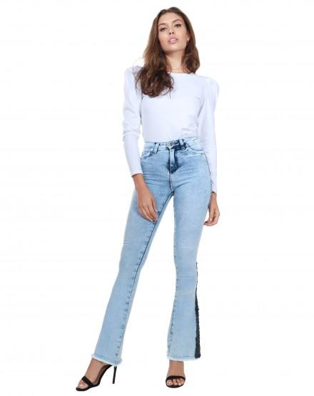 Calça Jeans claro Paetê na barra