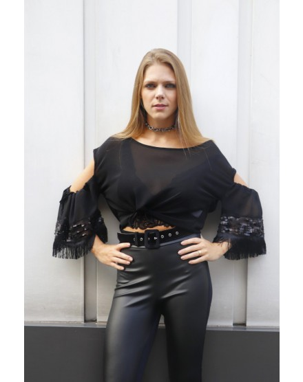 Blusa Cropped Ombro a Ombro com Paete